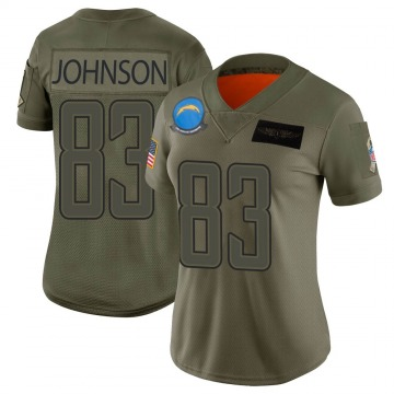 Women's Tyron Johnson Los Angeles Chargers Limited Camo 2019 Salute to Service Jersey